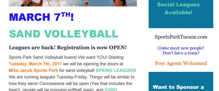 Sand Volleyball Starts Mar 7 Sports Park Flyer