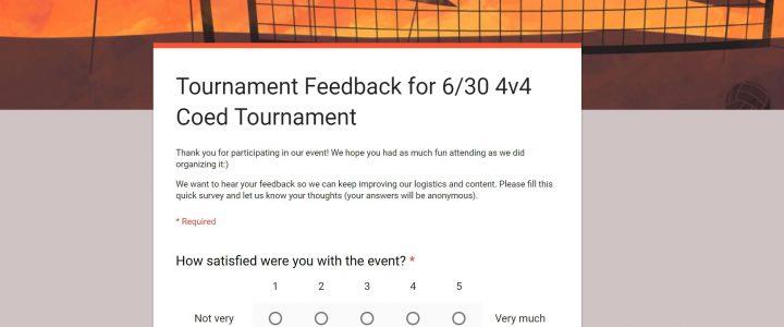 6/30 Tournament Feedback