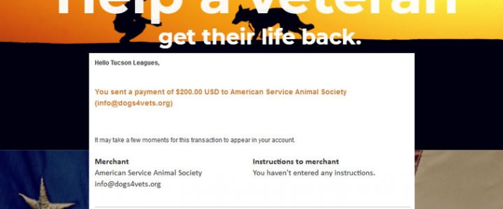 American Service Animal Society Donation Via Veterans Day Volleyball Tournament