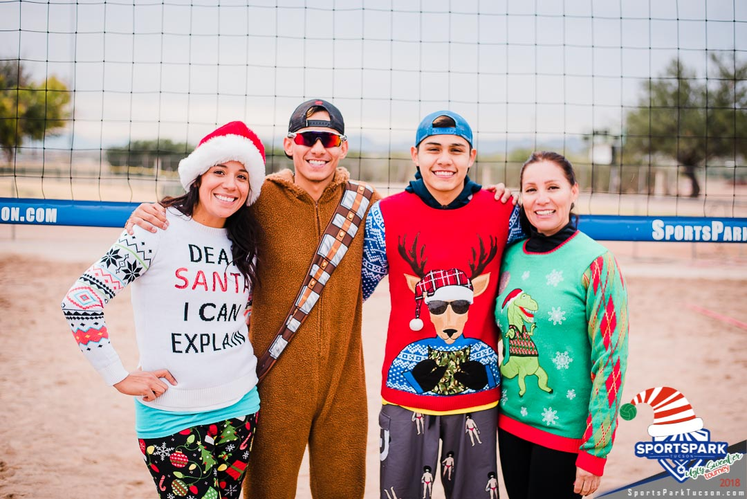 Dec 15th Ugly Sweater Volleyball Tournament Co-ed 4v4 - A/B , Team: Over in Onesies