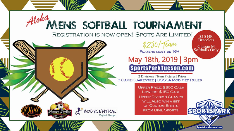 May 18th Luau Softball Tournament Men's 10v10 - Upper & Lower