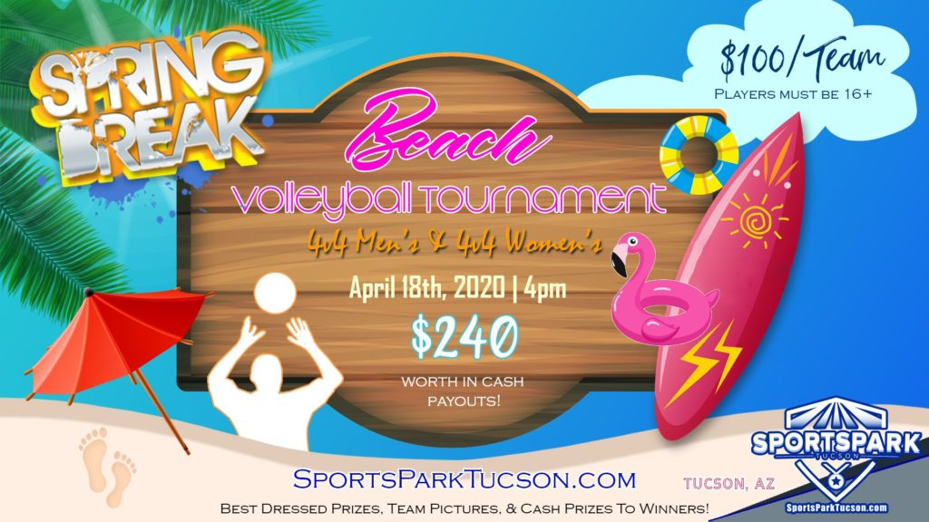 Apr 18th Beach Volleyball Tournament Men's & Women's 4v4 – A/B
