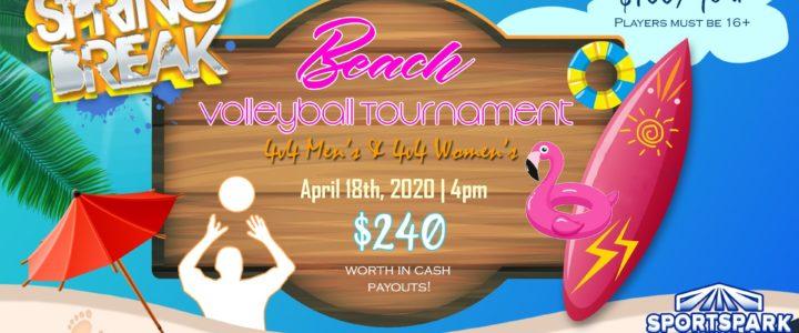 UPDATE: Apr 18th Beach Volleyball Tournament Men's & Women's 4v4 – A/B
