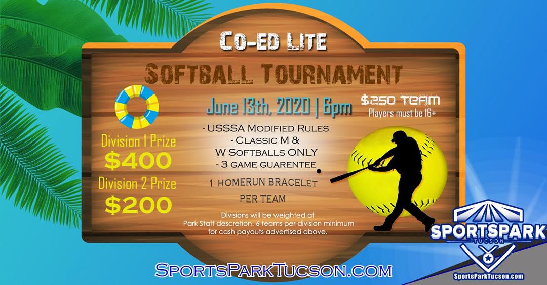 June 13th Softball Tournament Co-ed Lite 10v10