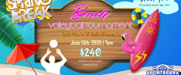 UPDATE: June 13th Beach Volleyball Tournament Men's & Women's 4v4 – A/B